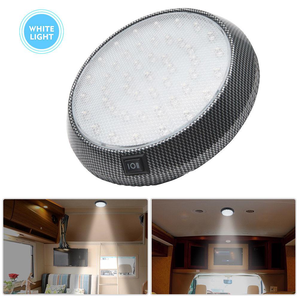12V Interior 46 LED Roof Light For Camper Van Caravan Motorhome Boat Light White With ON OFF Switch