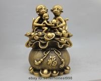 12 China Pure Bronze Copper Fengshui Wealth sack 3 Monkey family Animal Statue 5.19
