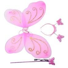 Wróżka księżniczka kostium na boże narodzenie skrzydło motyla różdżka pałąk piękne stroje imprezowe księżniczka dziewczyna dzieci 3 sztuk/zestaw