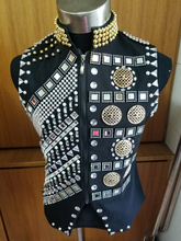 New Fashion Rivets Rhinestone Beads Jacket Men's Royal style Crystal Vest Nightclub Male DJ singer dancer stage ds costume