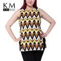Kissmilk Плюс Размер Женщины Новая Мода Большой Большой Размер Шеи Экипажа Рукавов Геометрические Печати Блузка Сплит Шифон Блузка 3XL-6XL