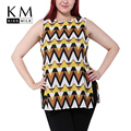 Kissmilk Plus Size Women New Fashion Big Large Size Crew Neck Sleeveless Geometric Print Blouse Split Chiffon Blouse 3XL-6XL