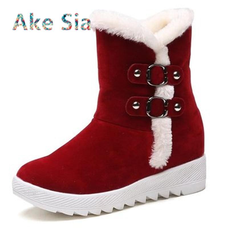 Women Snow Boots Ankle 2017 Winter Warm Female Casual Shoes Platform Woman Fur Round Toe Boots Flat Fashion Comfortable s05 new 2017 hats for women mix color cotton unisex men winter women fashion hip hop knitted warm hat female beanies cap6a03