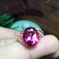 Hot Sale Women's Beautiful Topaz Red Gem Ring Retro S925 Sterling Silver Rose Gold Color Pink Gem Ring