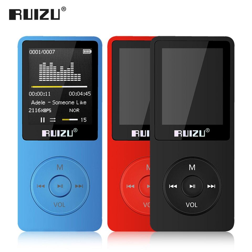 Английская версия ультратонкие MP3-плееры с 8 ГБ/16 ГБ хранения 1.8 дюймов Экран может играть 80 H ruizu x02 FM, электронная книга, часы, голос Регистраторы