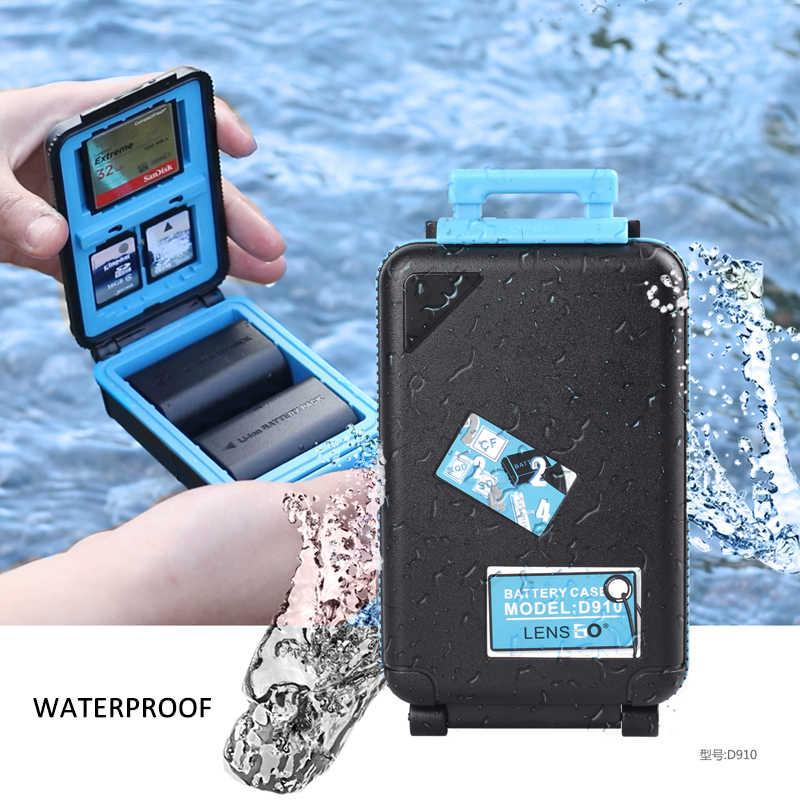 LENSGO D910 كاميرا حافظة بطاريات مربع SD CF XQD غلاف بطاقة ذاكرة للماء AA بطارية المنظم ل 2 كاميرا بطاريات حامل