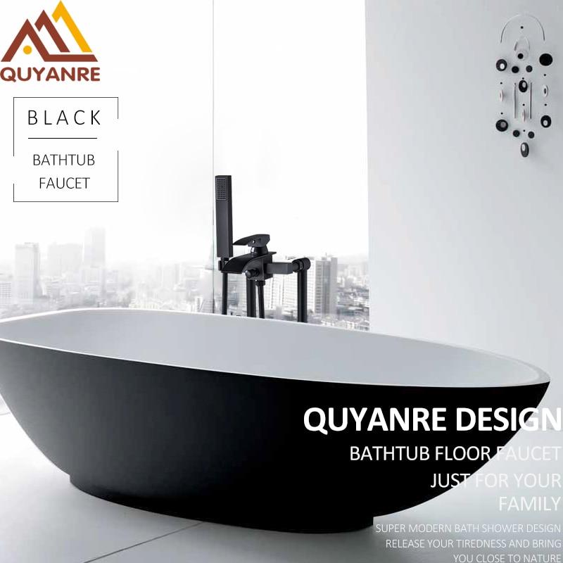 Quyanre Black Nickel Bathroom Floor Standing Faucet Waterfall Spout Mixer Tap Torneira Bathroom Shower Faucet Mixer