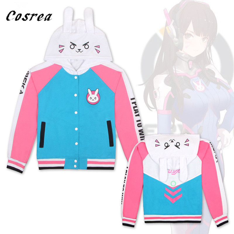 Game OW Cosplay Costume Fashion Hooded Sweatshirts DVA  hoodie Jackets Women Girls D.VA Sport Coat For Christmas Gift Sweatshirt