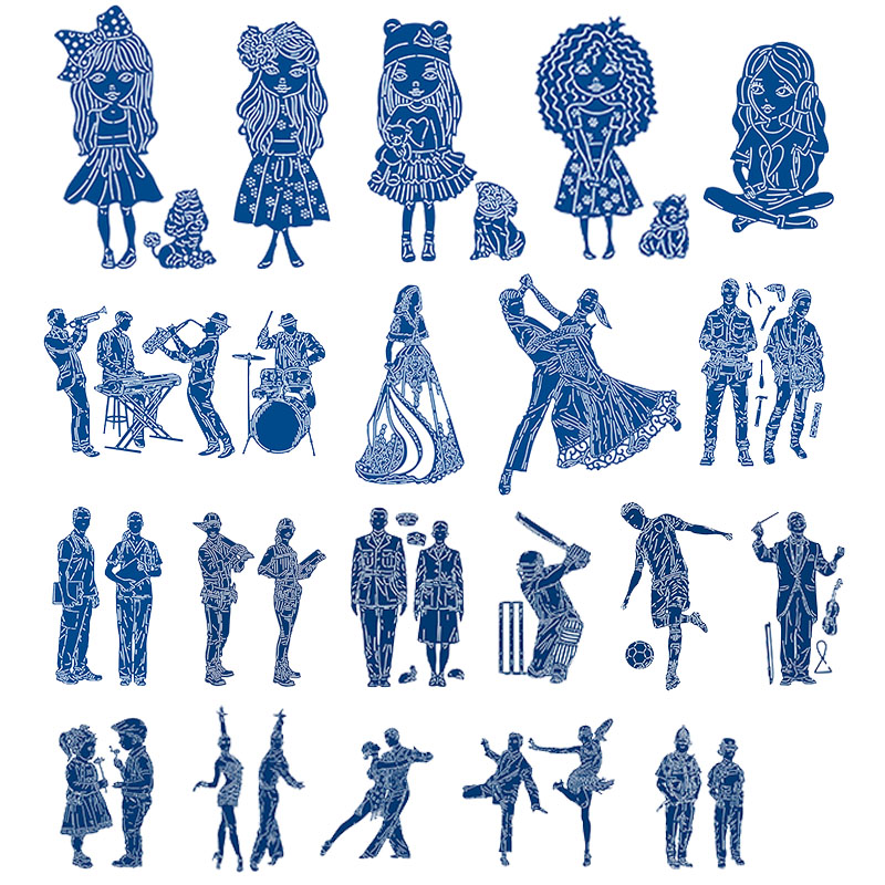 Cute Girl Dancing People Sporty Boy Metal Cutting Dies Stencils for Scrapbooking Embossing Die Cards Making Paper Craft New 2019(China)