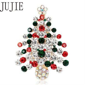 JUJIE Christmas Multicolore Crystal Tree Brooch For Women