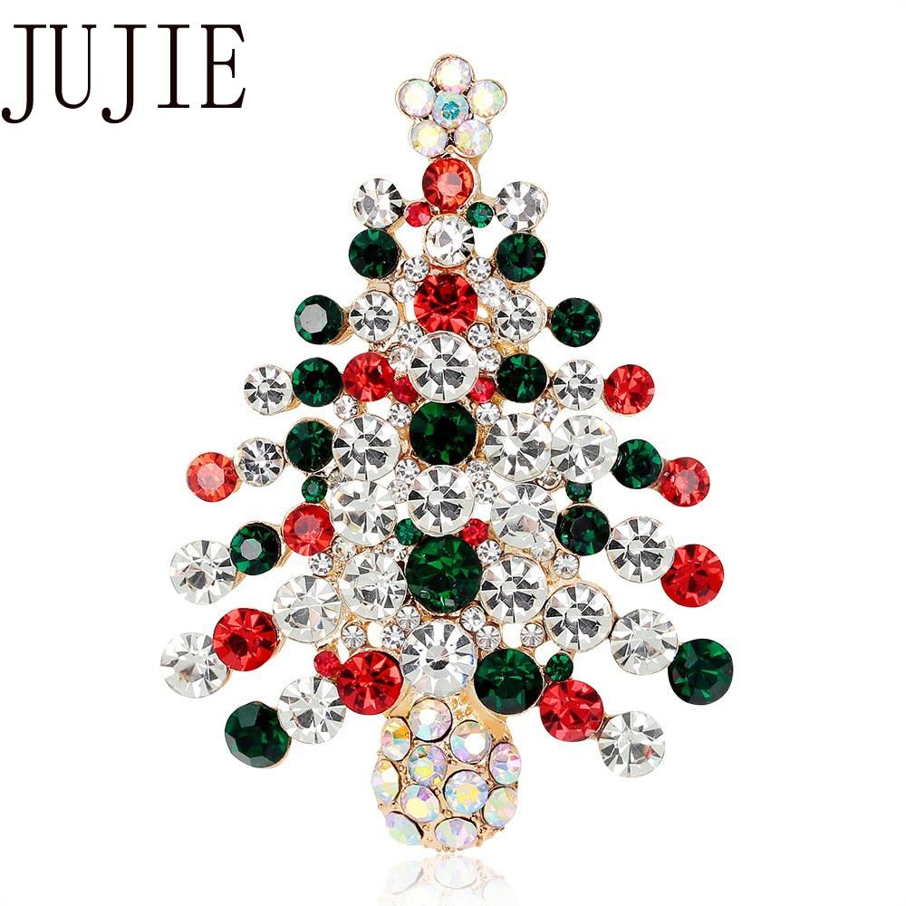 JUJIE Weihnachten Multi Kristall Baum Brosche Für Frauen 2019 Strass Broschen Kragen Broche Pins Modeschmuck