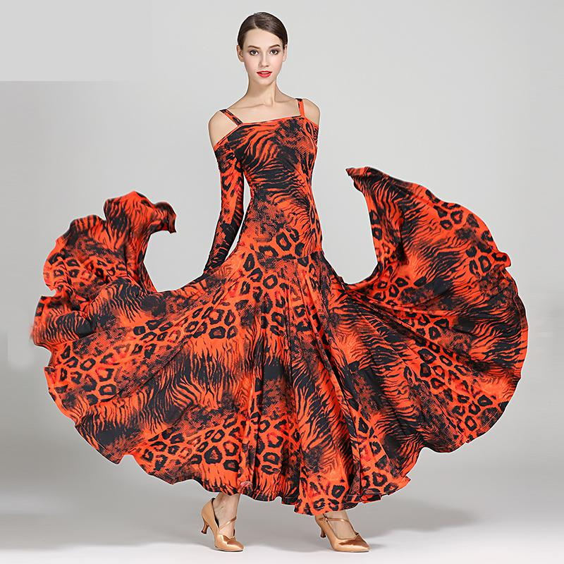 2019 New Leopard Modern Dance Dress Sexy Off shoulder Long Sleeve Waltz Tango Spanish Flamenco Dress