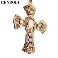 Kolye Pendant Necklace Vintage Brand Gold Jewelry Antique Cross Crucifix Jesus For Women Sweater Chain Accessory