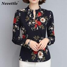 Nevettle Black White V neck Floral Print Women Blouse Long sleeve Casual Chiffon Shirt Spring Summer Tops