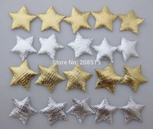 PA0029 Gold and Silver Felt star appliques Stick on 100pcs/lot crafts scrapbooking accessories
