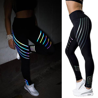 Reflective Leggings Glow In The Dark Night Light Stripes Shiny Fitness Yoga Pants Tights Sportswear Tracksuit
