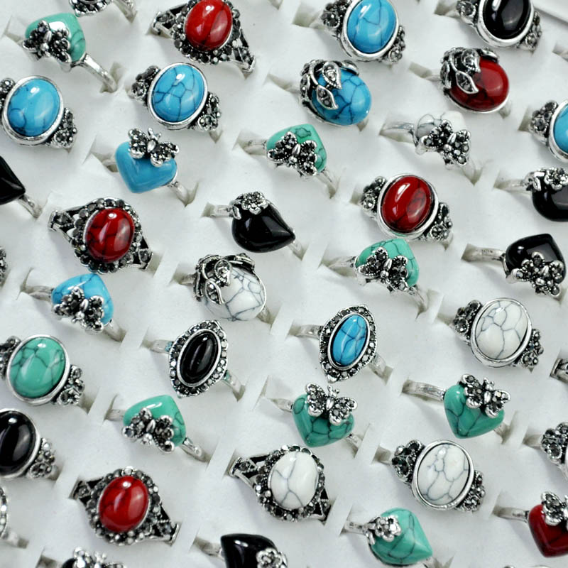 100Pcs Vintage Mixed Turquoises Stone Rhinestone Women Ring lots female anel Jewelry Lots Top quality Free