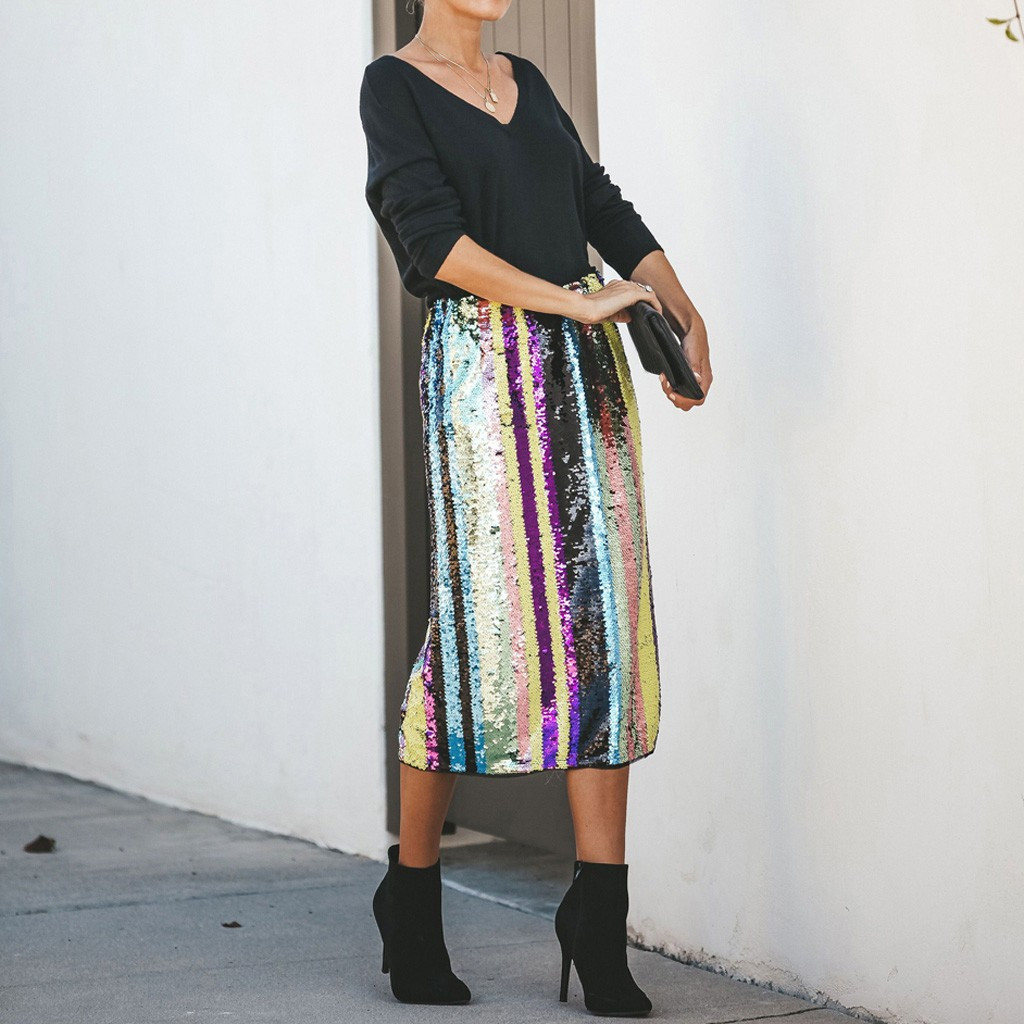 Sexy Striped Patchwork Sequins Split Hem Skirts Womens Fashion High Waist Mid Calf Skirt Elegant Ladies Skirt Faldas Mujer Moda