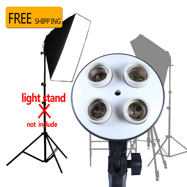 Photo Studio Kit Photography Lighting 4 Socket Lamp Holder + 50*70CM Softbox  Photo Soft Box not incloud 2m Light Stand