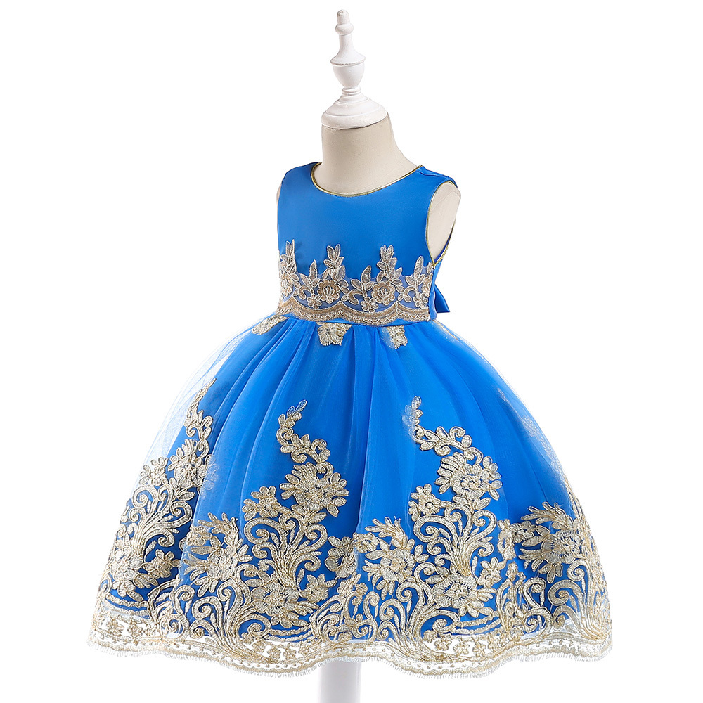 2019 Cheap Royal Blue Flower Girl Dresses Ball Gown Scoop Knee