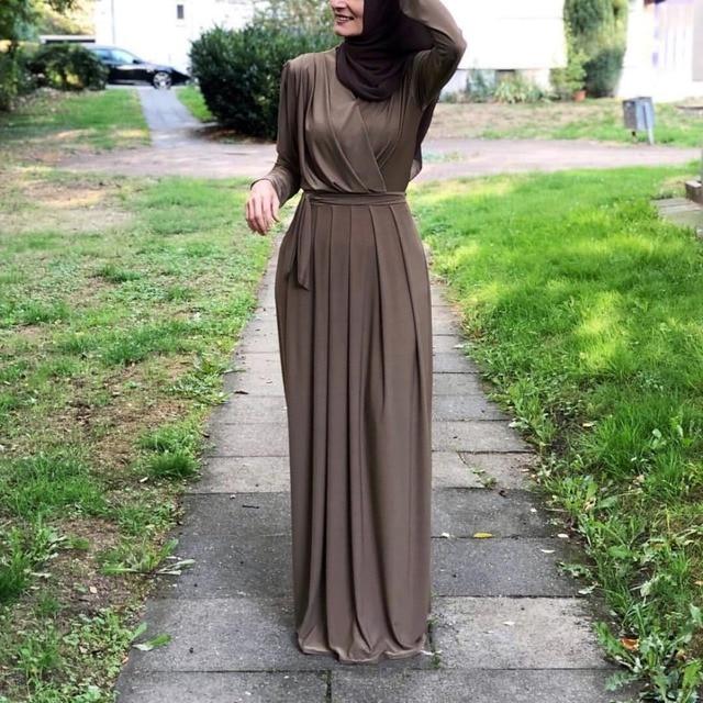 7colors Elegant Muslimah Pleated abaya Turkish Singapore full length Jilbab Dubai female Muslim Islamic dress wq1330 dropship 3