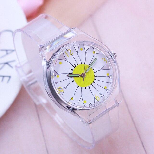 2018 willis children students sunflower fashion quartz watches kids transparent