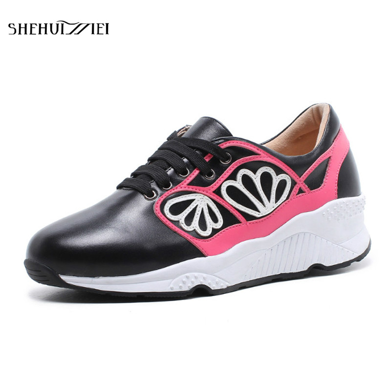 SHEHUIMEI Genuine Leather Flat Shoes Woman Lace-Up Round Toe Cow Leather Casual Women Shoes Fashion Wedges Flat Platform Shoes front lace up casual ankle boots autumn vintage brown new booties flat genuine leather suede shoes round toe fall female fashion