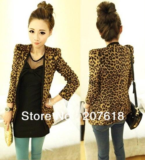 Spring 2015 Sexy Women's Blazer Suit Jacket European Style Shoulder Pads Sueding Leopard Pattern Slim Coats Outerwear