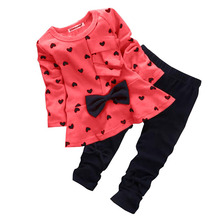 2 Pcs/Set Newborn Baby Girl Long Sleeve Heart Print Clothes Set Autumn Outfits T-shirt Tops+Trousers Party Casual Sets