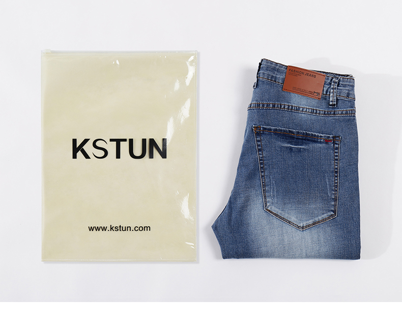 Mens Jeans 2019 Summer Ultrathin Business Casual Straight Slim Fitness Elastic Light Blue Soft