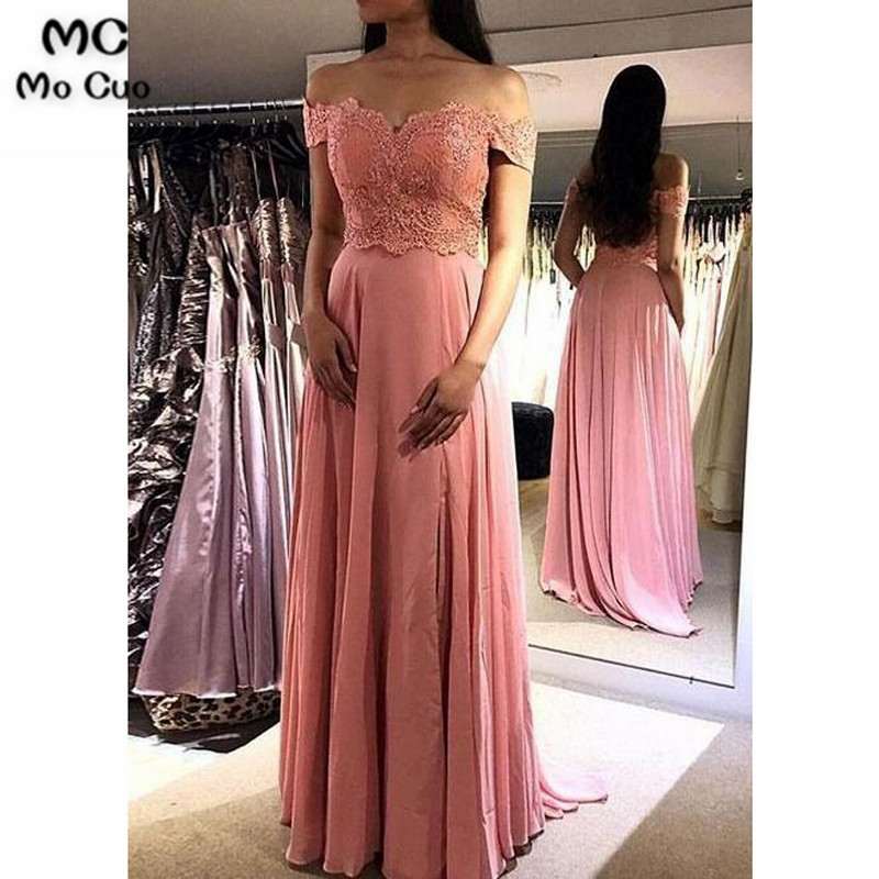 2019 Off Shoulder   Evening     Dresses   Long with Appliques Lace V-Neck Chiffon A-Line Formal   Evening   Party   Dress   for Women