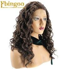 Ebingoo High Temperature Fiber Peruca Natural Long Curly Wigs Free Part