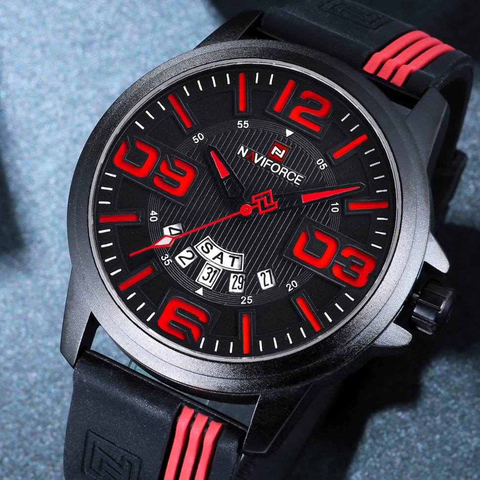 NAVIFORCE Watch Men Sport Quartz Watches Fashion Waterpoof Rubber Wristwatches Male Analog Date Clock Relogio Masculino+gift