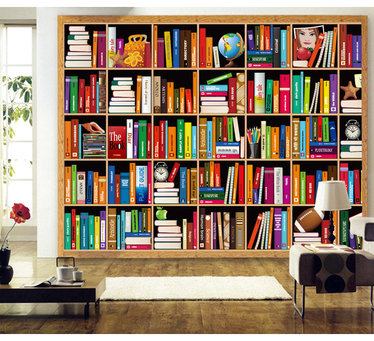 Free shipping bookshelf background wallpaper murals for Bookshelf wall mural