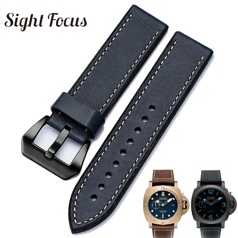 7555679af94 20 22 24 26mm High Quality Leather Rubber Lining Watch Band for Panerai  Strap Men Brushed Tang Buckle Watch Belt Wrist Bracelet