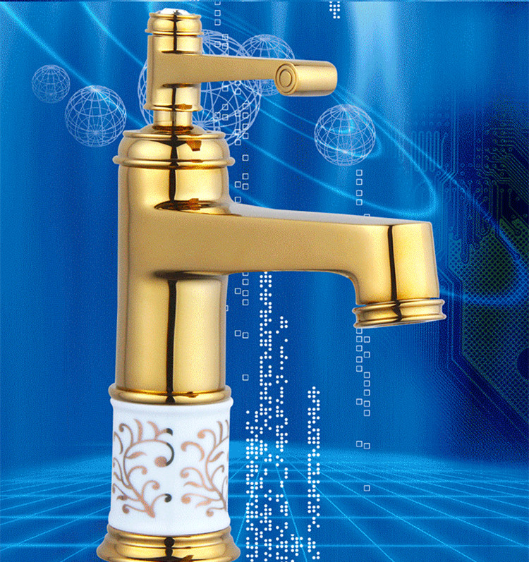 Bathroom Sinks,faucets & Accessories Free Shipping Blue White Porcelain Gold Bathroom Basin Tap With Single Lever Hot Cold Bathroom Basin Sink Mixer Tap