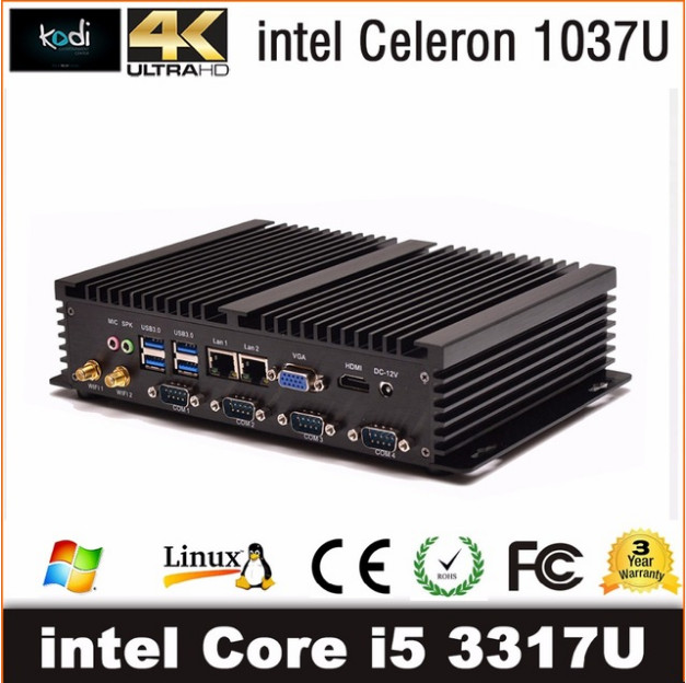 Intel Core I5 3317u Industrial PC 1007u Fanless Mini PC Windows 10 TV Box HDMI 4 RS232 Dual NIC 2 LAN 8 USB WiFi Rugged Computer