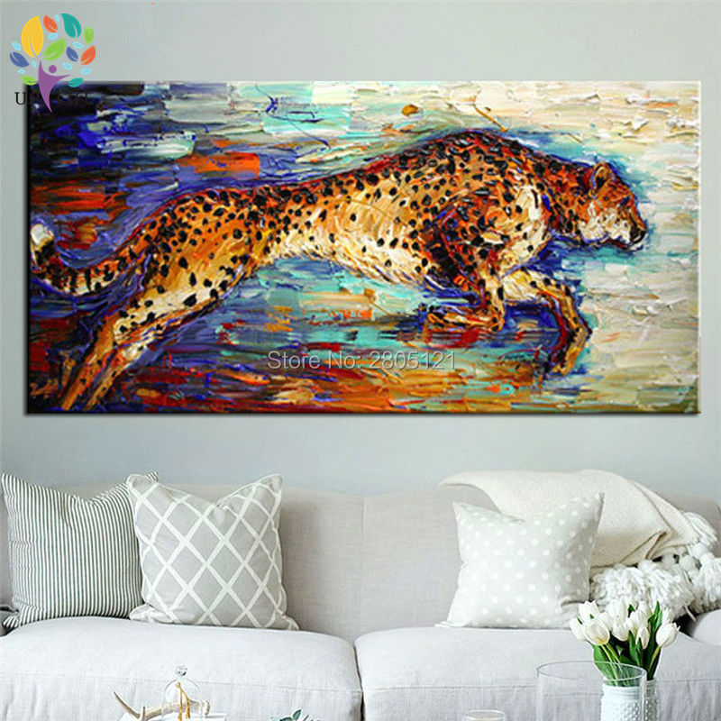 hand painted canvas picture running Hunting Cheetah canvas art oil - Home Decor - Photo 3