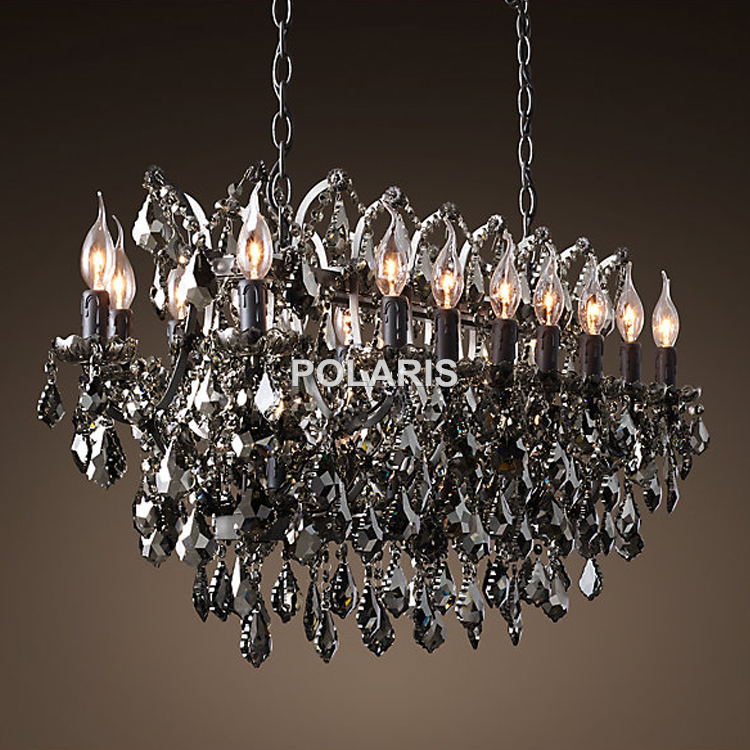 Vintage Smoky Crystal Chandelier Lighting Black Candle Chandeliers Pendant Lamp Hanging Light For Home And Restaurant In From Lights