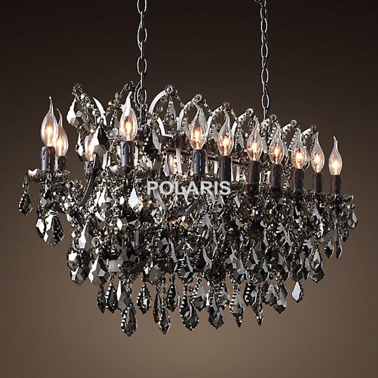 Vintage Smoky Crystal Chandelier Լուսավորություն Սև - Ներքին լուսավորություն - Լուսանկար 3