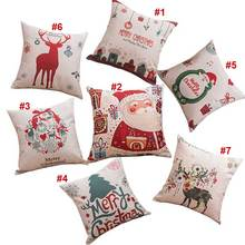 Santa Claus Deer Series Linen Blend  Pillowcase Cushion Fabric Home Sofa Christmas Decor Pillow Cover  Hot Sale