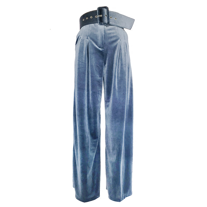 SuperAen 2017 Autumn and Winter New Women Long   Pants   Solid Color Wild Casual High Waist   Pants   Loose Velvet Women   Wide     Leg     Pants