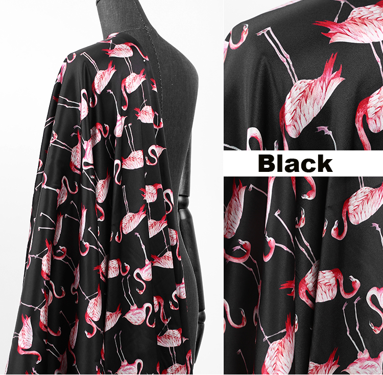 108CM Wide 19MM Flamingos Print Pink Black Strech Silk Satin Fabric for Elegant Women/'s Blouse Dress Clothing Cheongsam E337