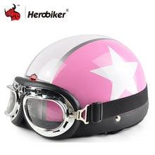 2018 Women Open Face Half Pink Motorcycle Motorbike Helmet Goggles Visor Motocross Capacete Moto Helmet