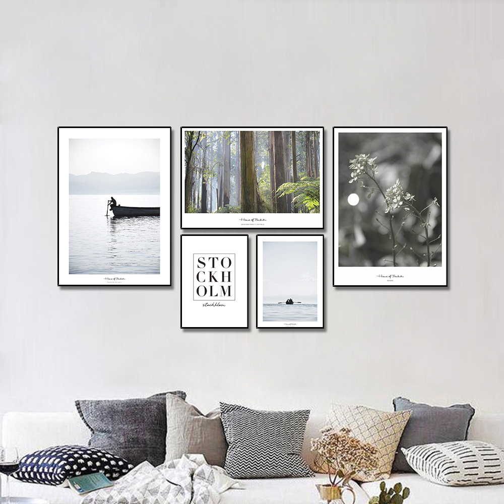 Unframed Multiple Pieces Nordic Canvas Painting Boats Forests Flower For Decorative Paintings Living Room Mural Free Shipping
