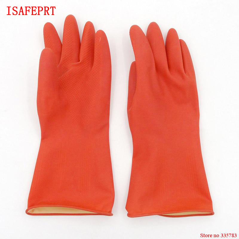 ISAFEPRT High quality gloves latex red 31CM clean laboratory guantes de trabajo latex upset top guantes Super durable