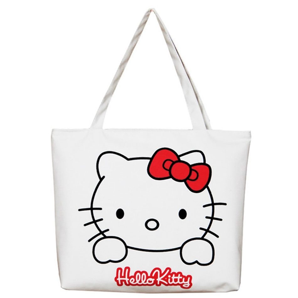 Canvas Women Casual Tote Designer Lady Large Bag Cute 3D Printing Hello Kitty Handbags Bolsas Shopping Bag Women Shoulder Bags luxury famous brand women female ladies casual bags leather hello kitty handbags shoulder tote bag bolsas femininas couro