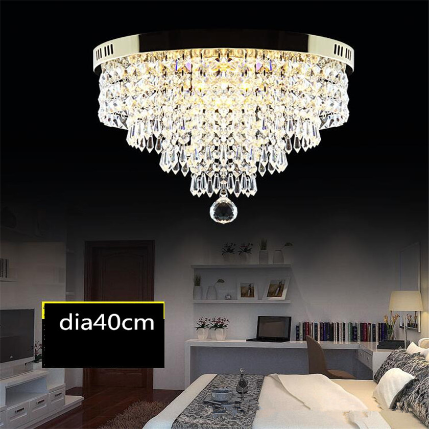 Round Ceiling Lights LED Crystal Ceiling lamp Luminarias Abajur Lustre For Living Roon Hall Plafonnier Home Deco Light Fixtures modern multicolour crystal ceiling lights for living room luminarias led crystal ceiling lamp fixtures for bedroom e14 lighting