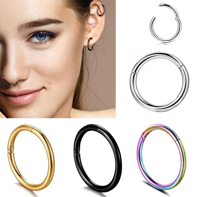 Многоцветные хирургические мини-серьги из стали, маленькие серьги в виде ушей, Спиральные серьги в виде кругов носа, закрытые серьги в виде ...