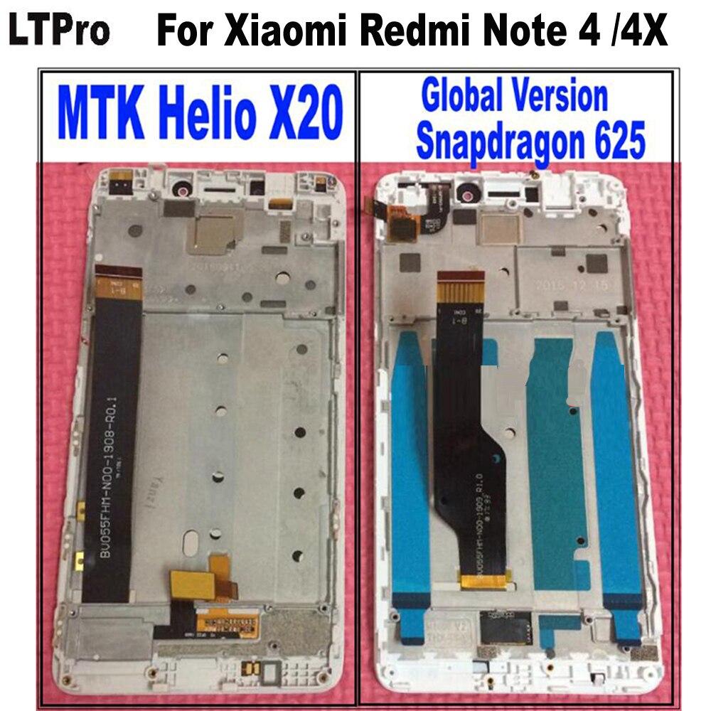 Beste Arbeits Sensor LCD Display Touch Screen Panel Digitizer Montage mit rahmen Für Xiaomi Redmi Hinweis 4 Helio/Hinweis 4X Globale